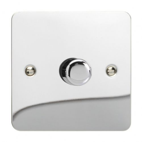 Varilight JFCP401 Ultraflat Polished Chrome 1 Gang 2-Way Push-On/Off LED Dimmer 0-120W V-Pro